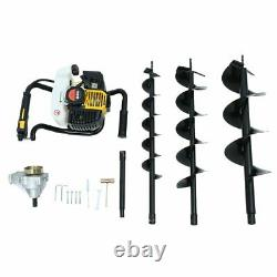 2100W Gas-Powered Post Hole Digger with 4 6 8inch Digging Auger Drill Bit 3HP