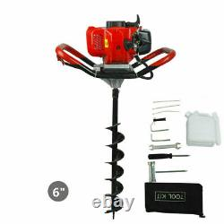 2.2HP Earth Auger Gas Powered Post Hole Digger 6 Drill Bits 52cc Power Engine