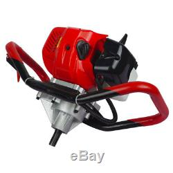 2.2HP Gas Powered 52cc Post Hole Digger + 4/ 8/10 Earth Auger for Planting