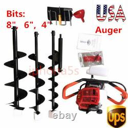 2.3HP 52cc Earth Auger Gas Powered One Man Post Hole Digger Machine, with 4 6 8
