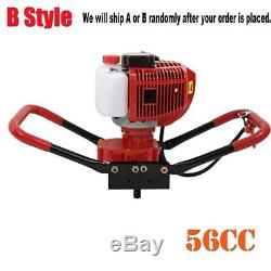 2.3HP 56CC Gas Powered Post Hole Digger With 6/8/10 Earth Auger Power Engine