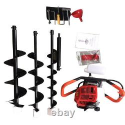 2.3HP Gas Powered Post Hole Digger 4'' 6'' 8Earth Auger 52cc Gasoline Engine US