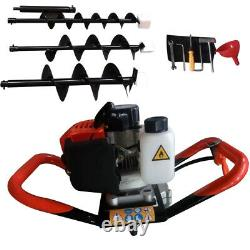2.3HP Gas Powered Post Hole Digger Earth Auger 4 6 8 Bit 52cc 2-Stroke Engine