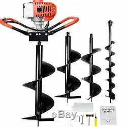2.5HP 52cc Gas Powered Engine Post Hole Digger+Earth Auger Drill Bit(5 &6& 8)