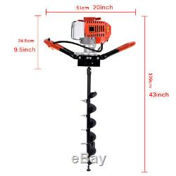 2.5HP 52cc Hole Digger Auger Post Gas Powered Auger Fence Ground with3 Drill Bits