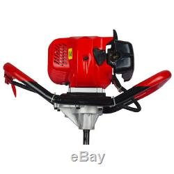 2.5HP Earth Auger Gas Powered Post Hole Digger 6 + 10 Drill Bits Set 52cc