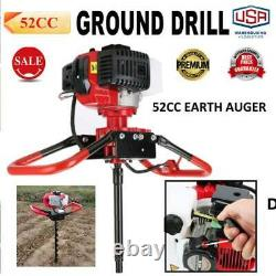 2.85 HP 52CC Post Hole Digger Gas Powered Earth Auger Borer Fence Ground Drill