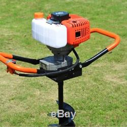 2-Stroke 52CC Gas Powered Post Hole Digger Auger+4 6 8 Bits+12 Extension Bar
