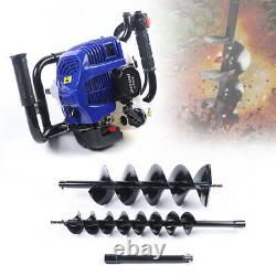2-Stroke 52CC Gas Powered Post Hole Digger Earth Auger Drill + 4 8 Spiral Bit