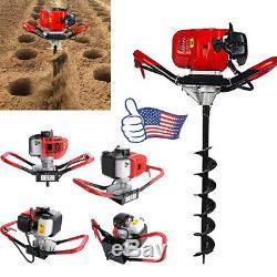 2 Stroke 52cc Gas Power Earth Post Hole Auger Head Digger One Man US Seller US