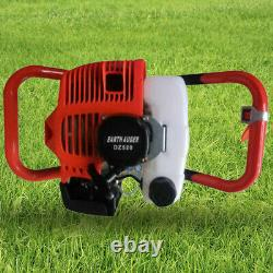 2-Stroke Gas Powered Post Hole Digger with 3pcs Earth Auger Drill Bits (4/6/ 8)