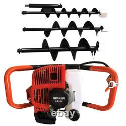 2-stroke 52cc Gas Powered Post Hole Fence Digger Earth Auger Borer3 Drill Bit US