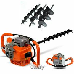 2-stroke Gas Powered Post Hole Fence Digger Auger 71CC + Drill Bits 4 6 8