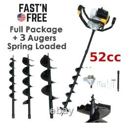 3HP Gas Powered Post Hole Digger with 3 Earth Auger Drill Bit 4 6 & 8