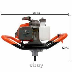 3.4HP Post Hole Digger Gas Powered Earth Auger Power Two Person Machine 63cc