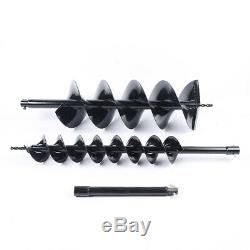 4 8 Double spiral drills Gas Power 52cc Earth Auger Post Fence Hole Digger+Rod