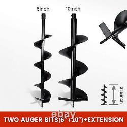 52CC 2.5HP Gas Post Hole Digger Earth Auger Petrol Powered Ground Drill& 2 Bits