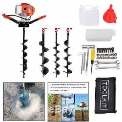52CC 2.5HP Gas Powered Engine Post Hole Digger+5 6 8Earth Auger Drill Bits