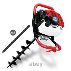 52CC 2.5HP Gas Powered Engine Post Hole Digger Auger Borer Fence Drill+Extension