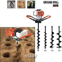 52CC 2.5HP Gas Powered Post Hole Digger With 6 & 10 Earth Auger Digging Engine
