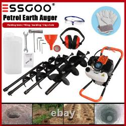 52CC 2-Stroke Earth Auger Gas Powered Post Hole Digger Machine / 3 Drill Bits US