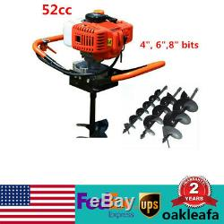 52CC 2 Stroke Fence Auger Petrol Borer Drill Gas Powered Post Hole 4/6/8 Bits