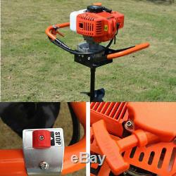 52CC 2-Stroke Gas Powered Earth Auger Borer Post Hole Digger Fence Drill +3 Bits