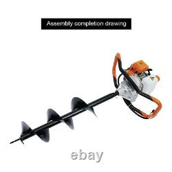 52CC 2-Stroke Gas Powered Petrol Air-cooled Auger Post Hole Digger Borer 1.9KW