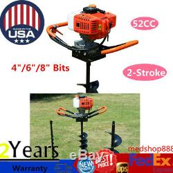 52CC 2 Stroke Gas Powered Post Hole Digger Auger Borer Fence Drill + 4/6/8 Bits