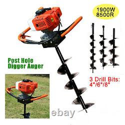 52CC 2-Stroke Gas Powered Post Hole Digger Auger Borer Fence Drill+4,6&8 Bits