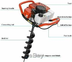 52CC 2-Stroke Gas Powered Post Hole Digger Auger Borer Fence Drill Machine