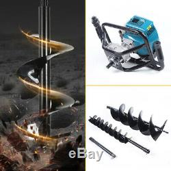 52CC 2-Stroke Gas Powered Post Hole Digger with TWO Earth Auger Drill Bit 4&8