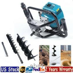 52CC 2 Stroke Post Hole Digger Gas Powered Earth Auger Borer Fence+2x Drill Bits