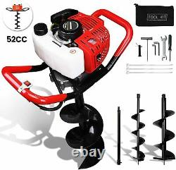 52CC 2-Stroke Post Hole Digger Gas Powered Earth Auger Drill +2 Bits+Extension