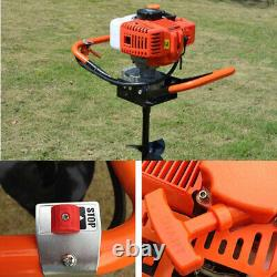 52CC 2-stroke Earth Auger Gas Powered Post Hole Digger Bar&3 Bits4 6 8 1.9KW