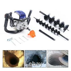 52CC 2-stroke Gas Powered Earth Auger Post Hole Digger Borer Fence+2 Drill Bits