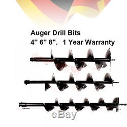52CC Auger Post Hole Digger Gas Powered Borer Fence Ground Drill+4 6 8 Bits