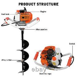 52CC Earth Auger 2-Cycle Gas Powered One Man Post Hole Digger Machine 3 Drills