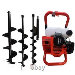 52CC Earth Auger 2-Stroke Gas Powered One Man Post Hole Digger Machine & 3 Bits