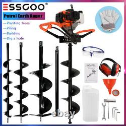 52CC Earth Auger 2-Stroke Gas Powered Post Hole Digger Machine 4 6 8 Bits