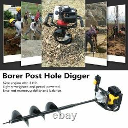 52CC Earth Auger Gas Powered One Man Post Hole Digger Machine & 3 Bits USA