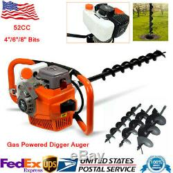 52CC GAS POWERED Earth Auger Post Fence Hole Digger +4/6/8 Bit+ Extension Bar