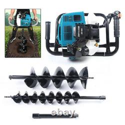 52CC Gas Powered Earth Auger Ground Post Hole Digger+2 Drill Bits+Extension Bar
