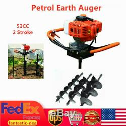 52CC Gas Powered Earth Auger Post Hole Digger Fence Ground + 4 68 Drill Bits