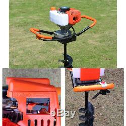52CC Gas Powered Post Hole Digger Auger Borer Ground Fence Drill + 4/6/8 Bits