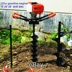 52CC Gas Powered Post Hole Digger Earth Auger with3 Bits+12Extension Bar