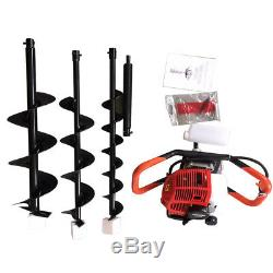 52CC Gas Powered Post Hole Digger Power Engine 4/6/8Auger Bits for Digging