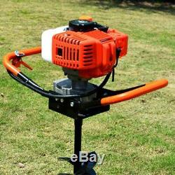 52CC Petrol Gas Powered Post Hole Digger 2-Stroke + Earth Auger Drill 3 Bits