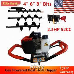 52CC Post Hole Digger 2.3HP Gas Powered Earth Auger Fence Borer+3Drill Bits