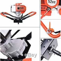 52CC Post Hole Digger Gas Powered Earth Auger Borer Fence Ground + 3 Drill Bit